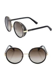 Andie Glitter-Trim Round Sunglasses