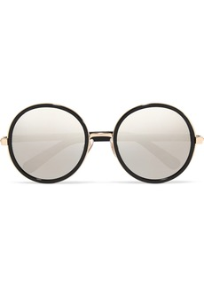 Andie round-frame glittered acetate mirrored sunglasses