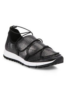 Jimmy Choo Andrea Metallic Mesh Lace-Up Sneakers