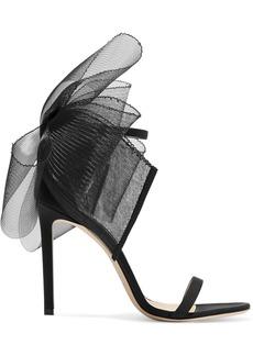 Jimmy Choo Aveline 100 Bow-embellished Grosgrain Sandals