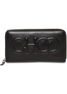 Jimmy Choo Bettina Embossed Logo Leather Wallet