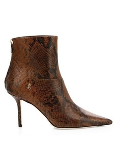 Jimmy Choo Beyla Snake-Embossed Leather Point-Toe Booties