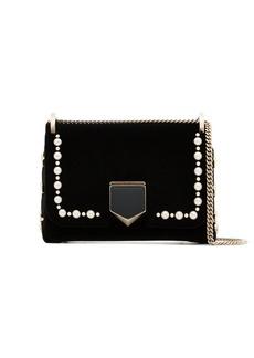 Jimmy Choo black lockett pearl embellished mini velvet mini bag