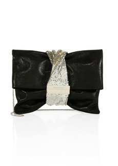 Chandra Crystal-Band Shimmer Suede Clutch