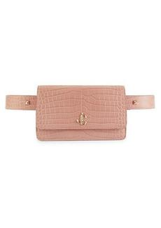 Jimmy Choo Croc-Embossed Leather Belt Bag