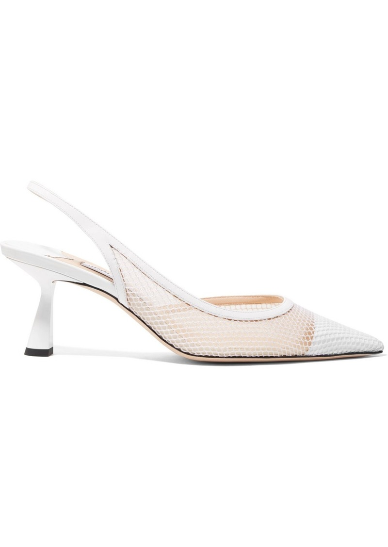 Jimmy Choo Fetto 65 Patent-leather, Fishnet And Mesh Slingback Pumps