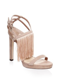 Jimmy Choo Fringe Stiletto Suede Sandals