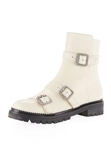 Jimmy Choo Hank Triple-Strap Leather Moto Boots