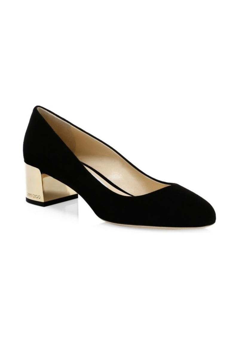 Jimmy Choo Jessie Block-Heel Suede Pumps