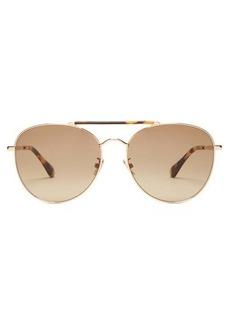 Jimmy Choo Abbie tortoiseshell metal aviator sunglasses
