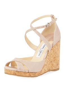 Jimmy Choo Alnah Gou Glitter Mesh Wedge Sandal