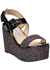 Jimmy Choo Alton 100 Patent & Glitter Platform Wedge Sandal