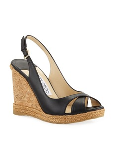 Jimmy Choo Amely 105mm Leather Cork Wedge Sandals
