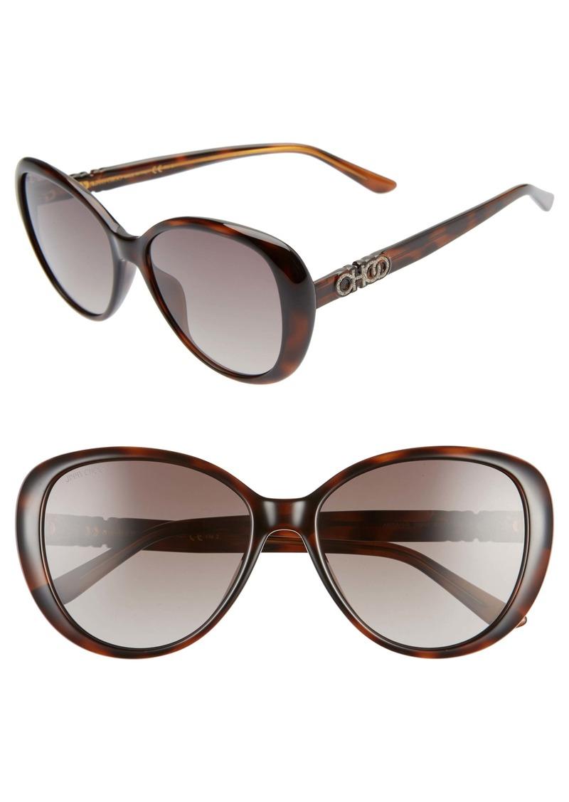 Jimmy Choo Amira 57mm Gradient Cat Eye Sunglasses