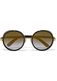 Andie round-frame gold-tone, acetate and calf hair sunglasses