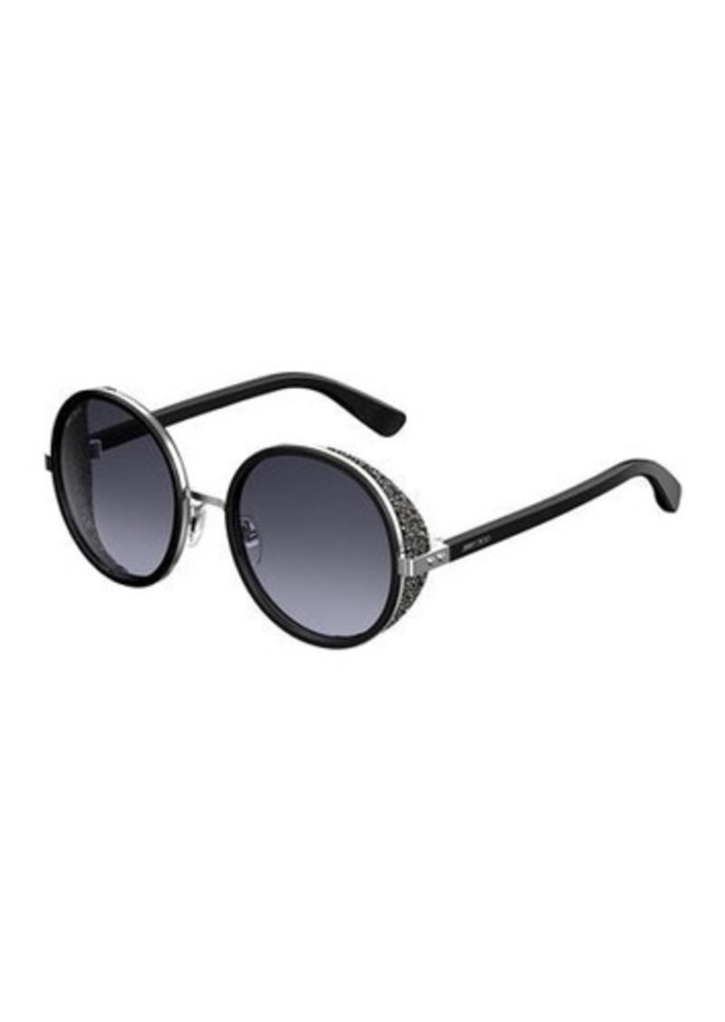 Jimmy Choo Andien Textured Round Sunglasses