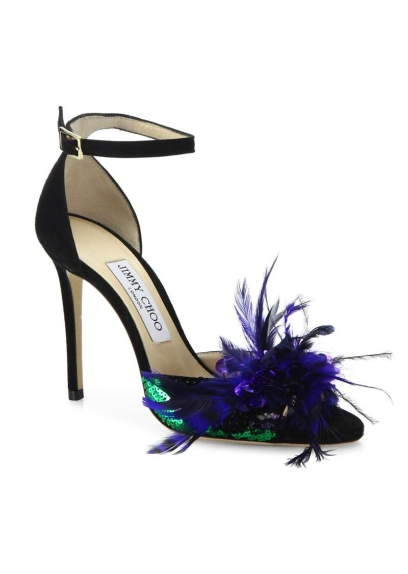 06c90fb45c6a Jimmy Choo Jimmy Choo Annie Sequin   Feather-Embellished Suede Ankle ...