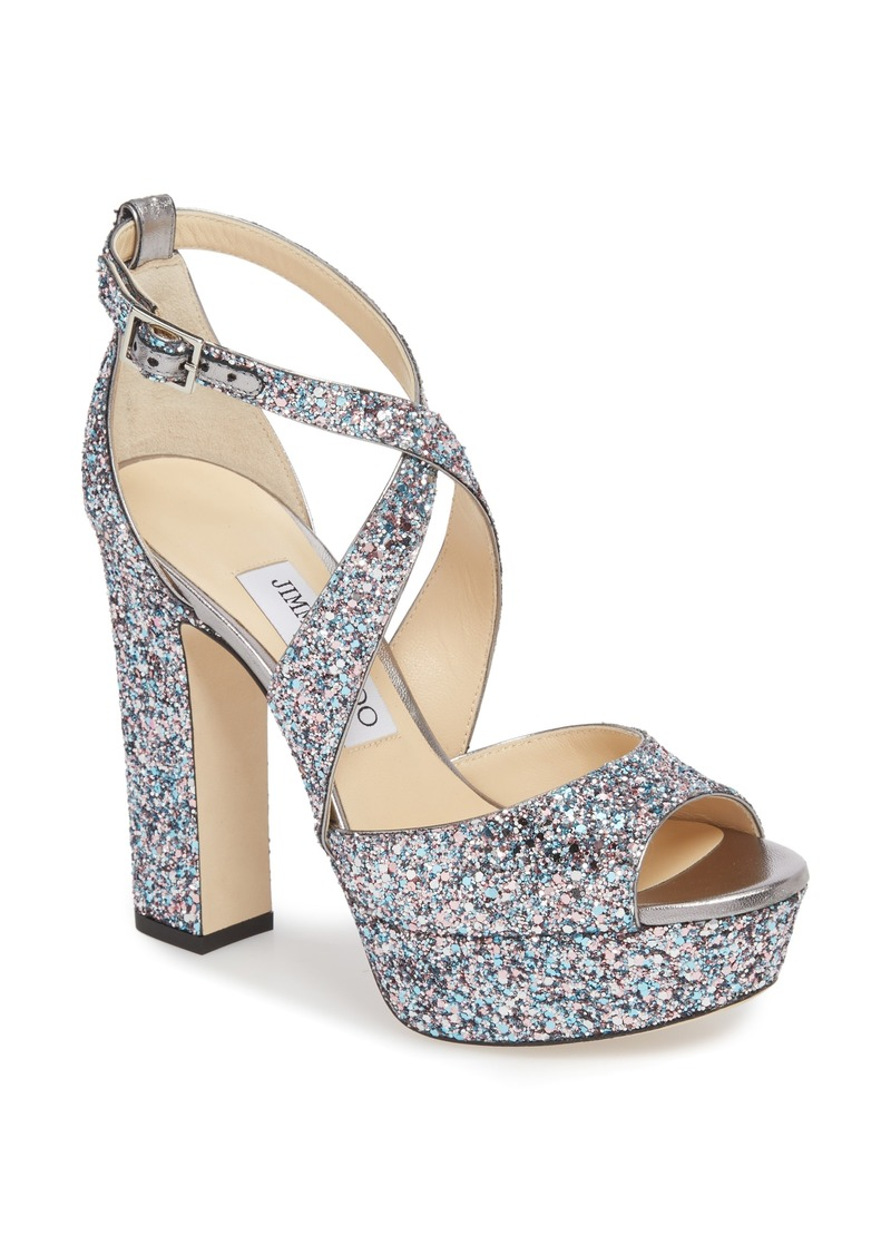 cfb31e42ec0 Jimmy Choo April Glitter Platform Sandal (Women) (Nordstrom Exclusive)
