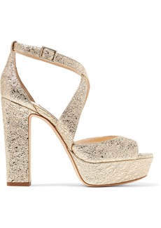 Jimmy Choo April 120 metallic crinkled-leather platform sandals