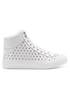Jimmy Choo Argyle high-top stud-embellished leather trainers