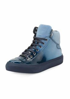 Jimmy Choo Argyle Men's Lacquered Suede Dégradé High-Top Sneaker