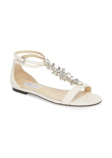 Jimmy Choo Averie Embellished T-Strap Flat (Women)