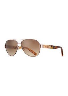 Jimmy Choo Babas Crystal-Temple Aviator Sunglasses