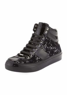 Jimmy Choo Belgravia Men's Glitter High-Top Sneaker