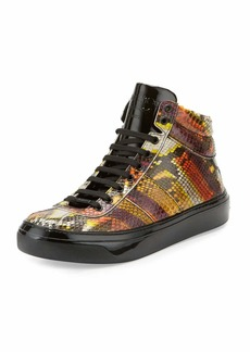 Jimmy Choo Belgravia Men's Python & Patent Leather High-Top Sneaker
