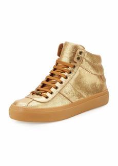 Jimmy Choo Men's Belgravia Metallic Leather High-Top Sneakers