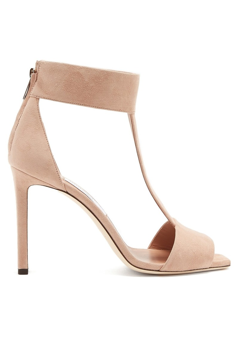 Jimmy Choo Bethel 100 T-bar zip-back suede sandals