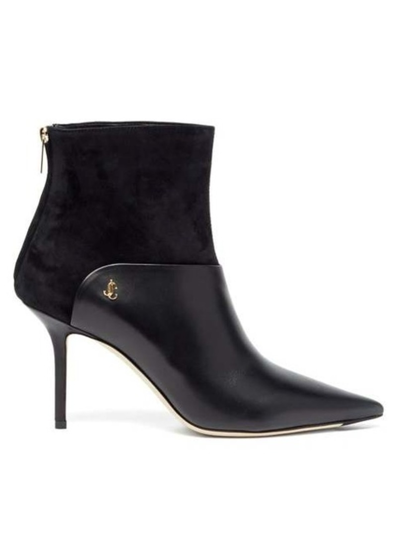 Jimmy Choo Beyla 85 suede and leather point-toe ankle boots