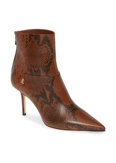 Jimmy Choo Beyla Snake Embossed Pointed Toe Bootie (Women)