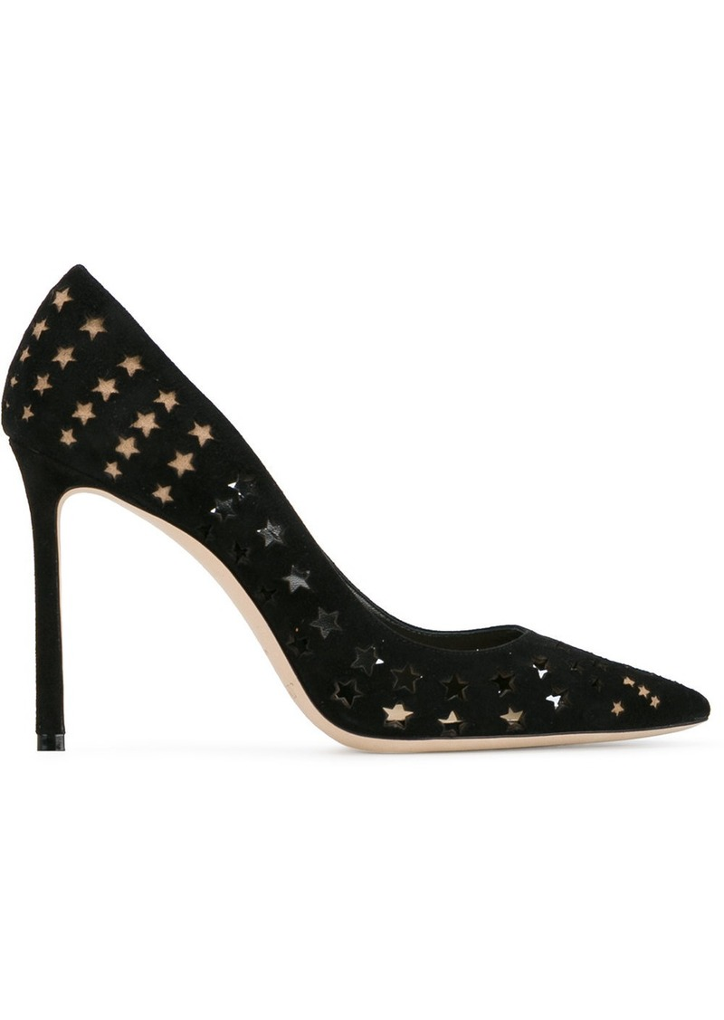 Jimmy Choo Black Star Romy 100 suede pumps