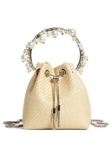 Jimmy Choo Bon Bon Imitation Pearl Embellished Woven Bucket Bag
