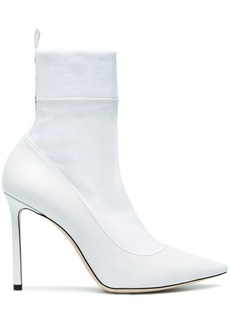 Jimmy Choo White Brandon 100 Sock Boots