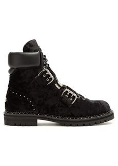Jimmy Choo Breeze buckle-detail velvet ankle boots