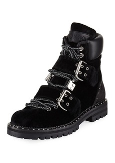 Jimmy Choo Breeze Buckled Velvet Biker Boot