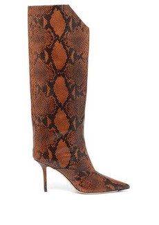Jimmy Choo Brelan 85 python-effect leather knee-high boots
