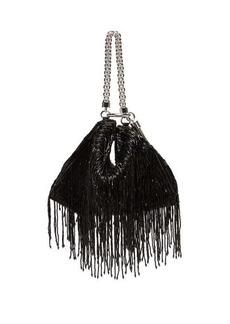 Jimmy Choo Callie bead-fringed satin clutch bag