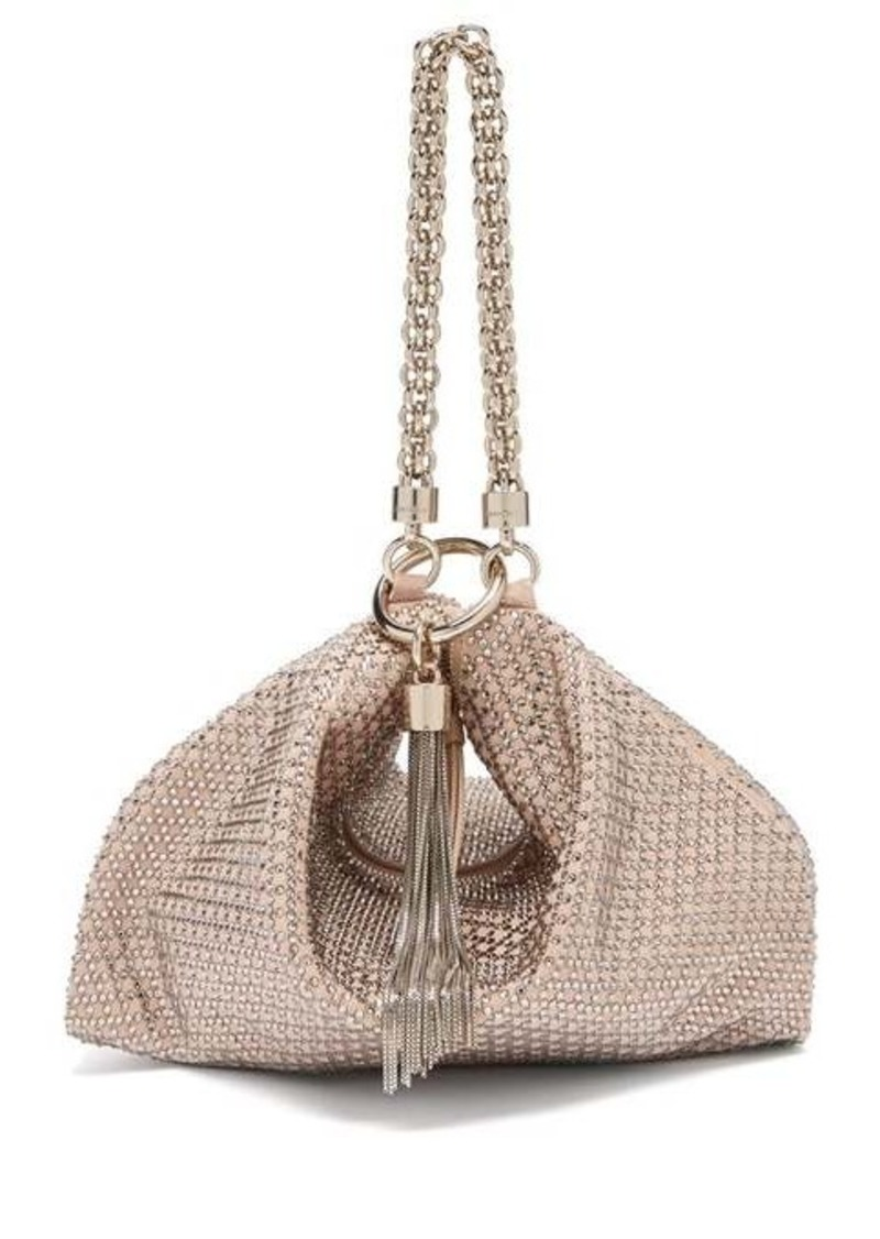 Jimmy Choo Callie crystal-embellished pink suede purse