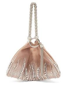 Jimmy Choo Callie crystal-embellished suede clutch bag