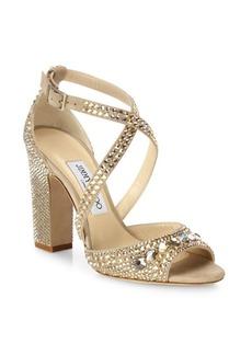 Jimmy Choo Carrie 100 Crystal-Embellished Suede Block Heel Sandals