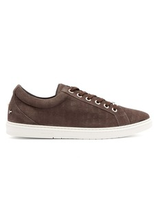 Jimmy Choo Cash crocodile-effect low-top suede trainers