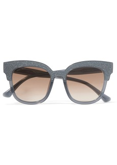 Cat-eye glittered acetate sunglasses