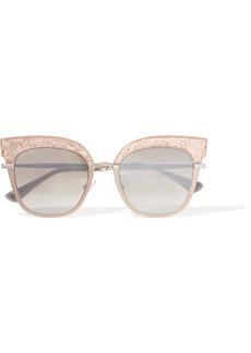 Jimmy Choo Cat-eye silver-tone and glittered acetate sunglasses