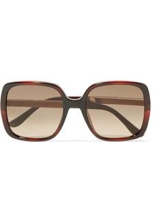 Jimmy Choo Chari square-frame glittered acetate sunglasses