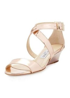 Jimmy Choo Chiara Mirrored Crisscross Wedge Sandal