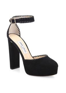 Jimmy Choo Daphne 120 Suede Platform Ankle-Strap Sandals