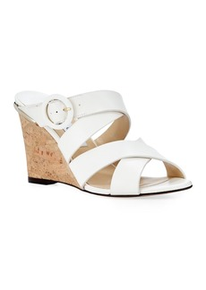 Jimmy Choo Delila Vachetta Leather Wedge Slide Sandals